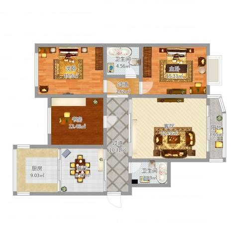 福泰御苑3室2厅4卫1厨137.00㎡户型图