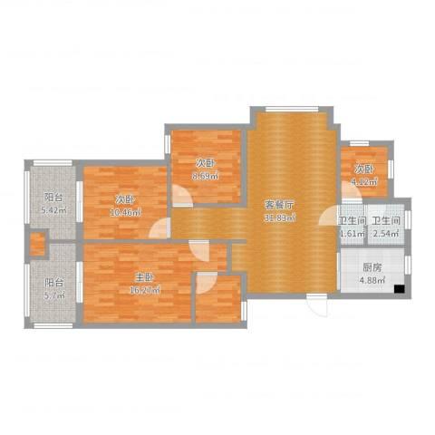 桐庐紫郡花园A1户型103方4室2厅2卫1厨120.00㎡户型图