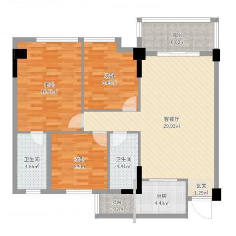 岭南名居3室2厅2卫1厨108.00㎡户型图