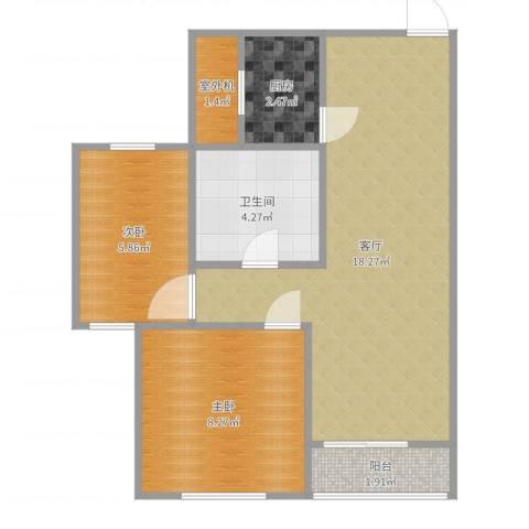 北城铭苑2室1厅1卫1厨53.00㎡户型图