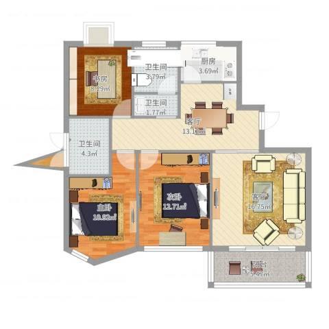 同方杰座3室2厅3卫1厨102.00㎡户型图