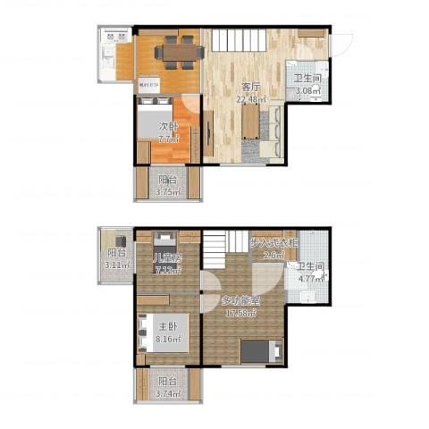 鸿盛春天3室1厅2卫0厨118.00㎡户型图