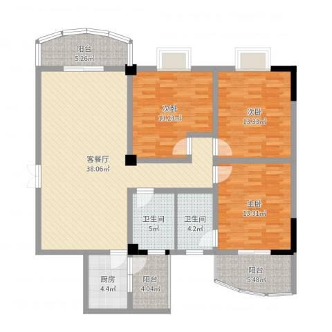 雅戈尔御玺3室2厅2卫1厨133.00㎡户型图