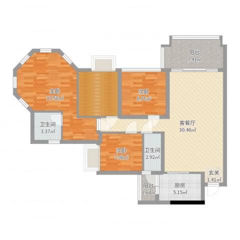 朗晴名门3室2厅2卫1厨115.00㎡户型图