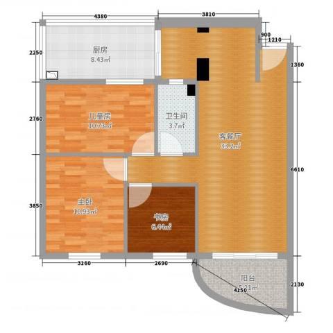 瑞丽花园3室2厅1卫1厨98.00㎡户型图
