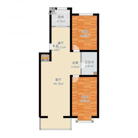绿城叠翠园2室1厅1卫1厨107.00㎡户型图