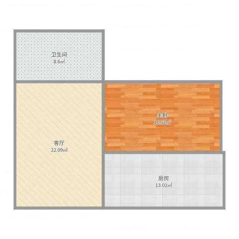 牡丹路225弄小区1室1厅1卫1厨75.00㎡户型图