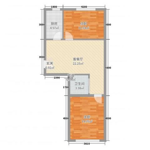 紫龙新城2室2厅1卫1厨73.00㎡户型图