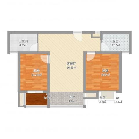中瑾翰铂府3室2厅1卫1厨73.00㎡户型图