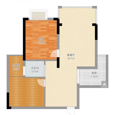 桑海明珠1室2厅1卫1厨86.00㎡户型图