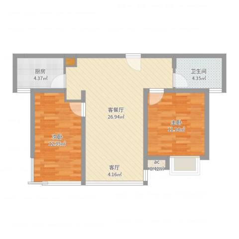 中瑾翰铂府2室2厅1卫1厨75.00㎡户型图