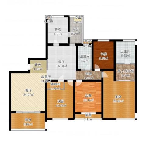 金湖湾花园4室2厅2卫1厨180.00㎡户型图