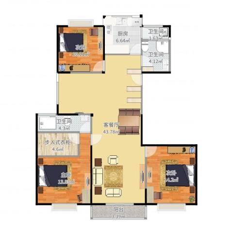 品尚雅居3室2厅3卫1厨133.00㎡户型图
