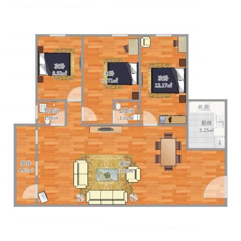 ID13156380侨诚花园春晓苑11栋505房3室1厅2卫1厨113.00㎡户型图