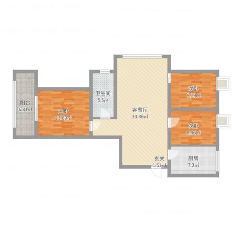张家村花园3室2厅1卫1厨106.00㎡户型图