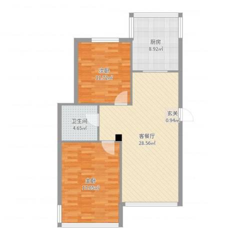 天源秀景2室2厅1卫1厨89.00㎡户型图