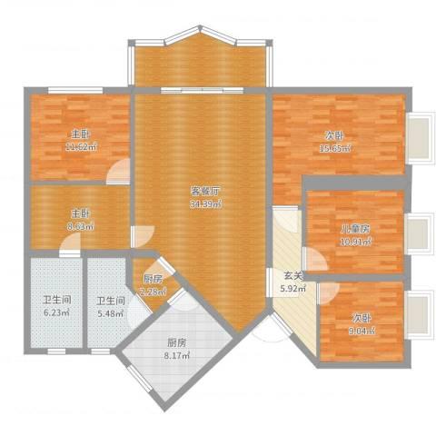 紫竹苑5室2厅2卫2厨158.00㎡户型图