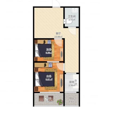 开发里15-5052室1厅1卫1厨53.00㎡户型图