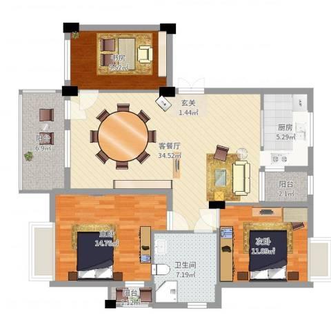 奕翠园别墅3室2厅1卫1厨116.00㎡户型图
