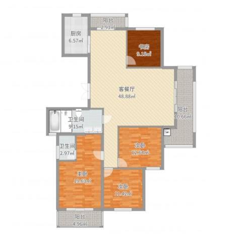 国骅东方湾邸4室2厅2卫1厨174.00㎡户型图