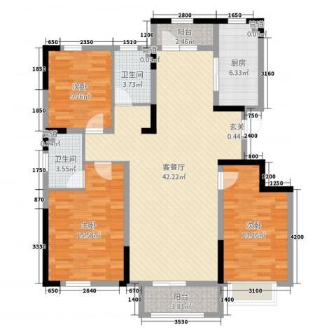 汉爵御苑3室2厅2卫1厨135.00㎡户型图