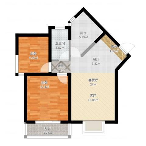 中阳润庭2室2厅1卫1厨70.00㎡户型图