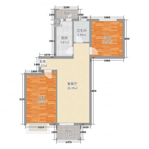 福鼎庄园2室2厅1卫1厨85.00㎡户型图