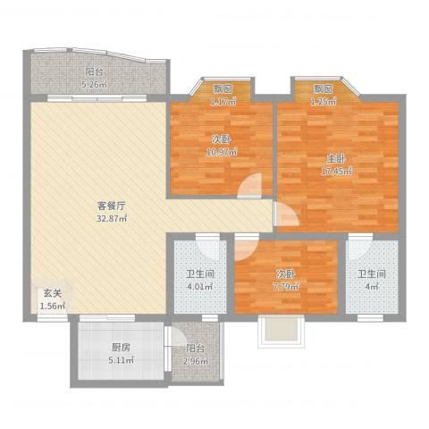 庆峰花园二期3室2厅2卫1厨113.00㎡户型图