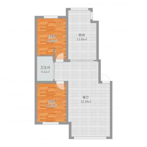 宏运・凤凰新城二期2室1厅1卫1厨92.00㎡户型图