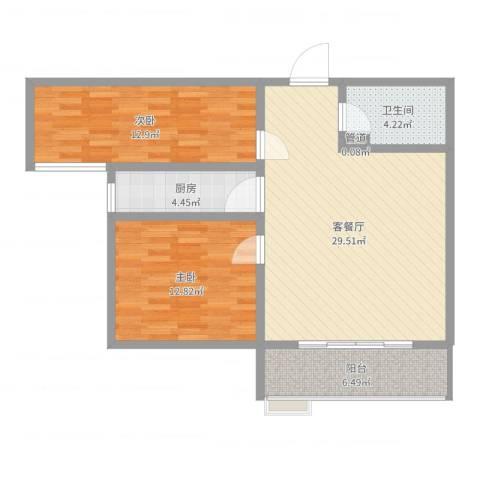隆安东方明珠2室2厅2卫1厨88.00㎡户型图