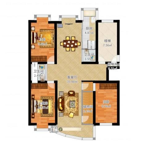 东南阳光3室2厅2卫1厨107.00㎡户型图