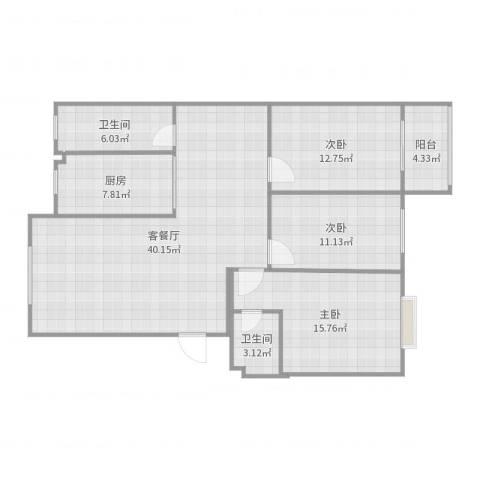 御墅龙湾3室2厅2卫1厨126.00㎡户型图