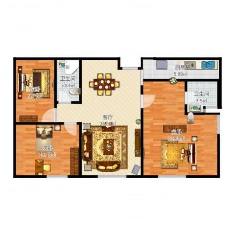 融创中央学府别墅3室1厅2卫1厨111.00㎡户型图
