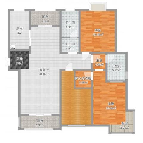 景山秀水3室2厅3卫1厨159.00㎡户型图