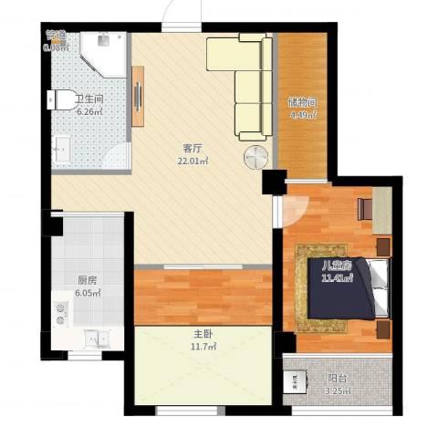 四季康城2室1厅1卫1厨82.00㎡户型图