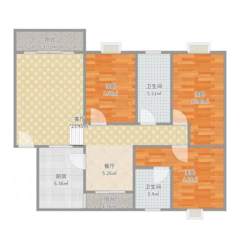 怡丰都市广场3室1厅2卫1厨93.00㎡户型图