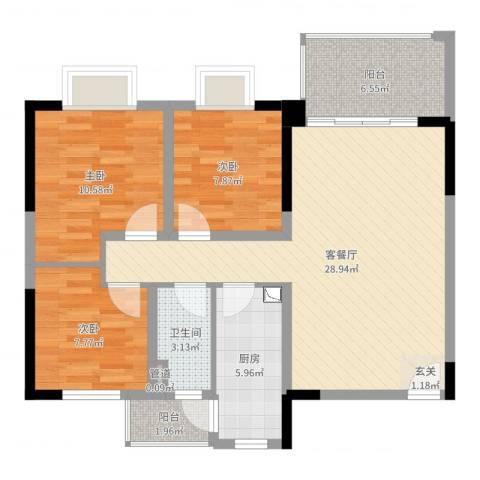 南桂园江临世家3室2厅1卫1厨91.00㎡户型图