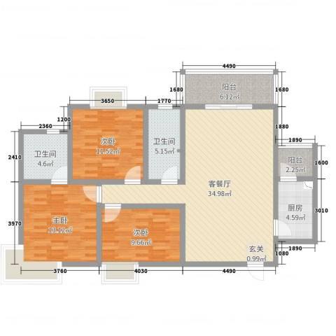 市政府文景小区3室2厅2卫1厨127.00㎡户型图