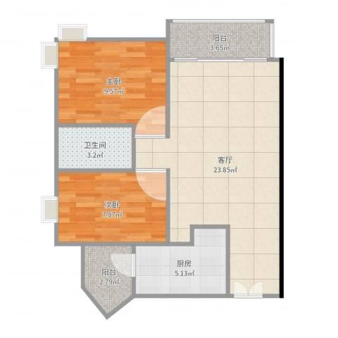 光大花园榕上居2室1厅1卫1厨70.00㎡户型图