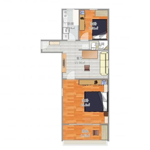 平乐园小区2室1厅1卫1厨68.00㎡户型图