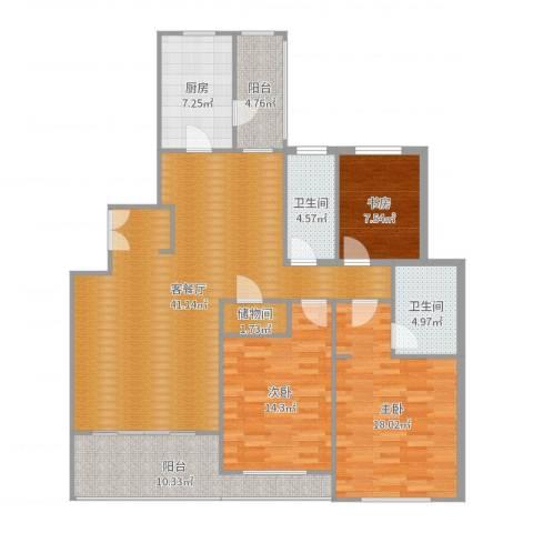 金湖湾花园5-7053室2厅2卫1厨143.00㎡户型图