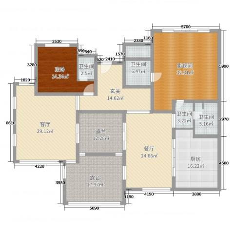 海湾艺墅1室2厅4卫1厨224.00㎡户型图