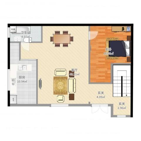 东兴街1041室1厅1卫1厨97.00㎡户型图