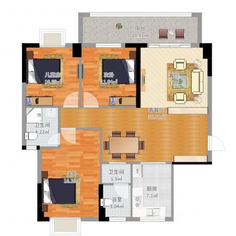 聚龙华府3室2厅2卫1厨127.00㎡户型图