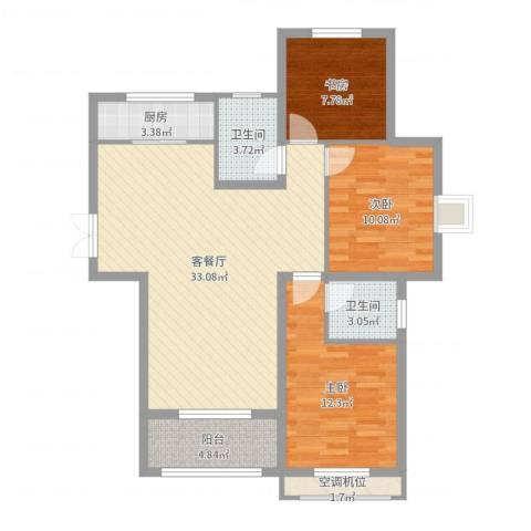 尚层名筑3室2厅2卫1厨100.00㎡户型图