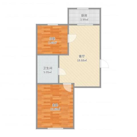泡崖四区2室1厅1卫1厨61.00㎡户型图