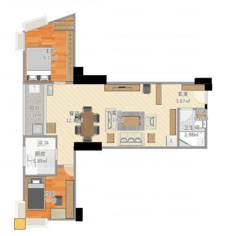 华顺大厦2室1厅1卫1厨74.00㎡户型图