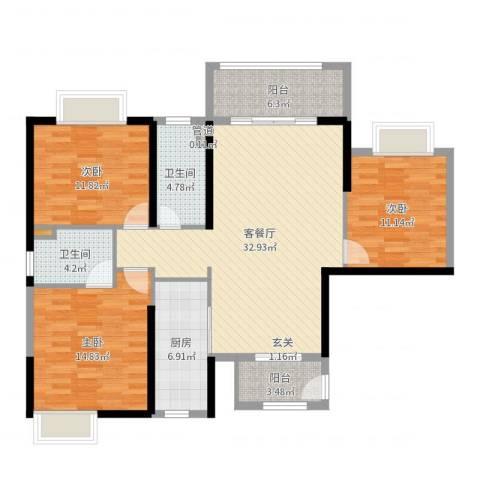 罗定福泰花园3室2厅2卫1厨121.00㎡户型图