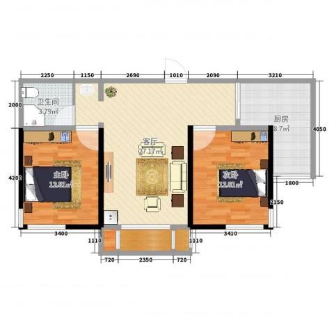 汉滨城市花园2室1厅1卫1厨85.00㎡户型图