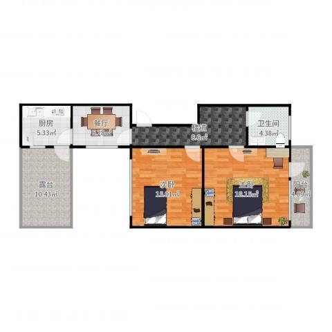 马场别墅6-2022室1厅1卫1厨90.00㎡户型图